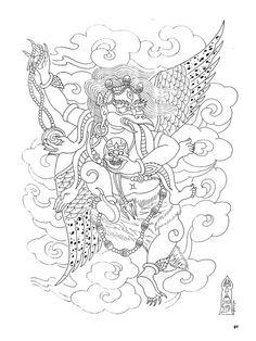 Paradise Tattoo, Gangsta's Paradise, Japanese Tattoo Designs, Japanese Tattoos, Tibetan Dragon, Tibetan Tattoo, Tibet Art, Sak Yant Tattoo, Asian Tattoos