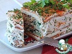 Закусочный торт с курицей, брынзой и шпинатом