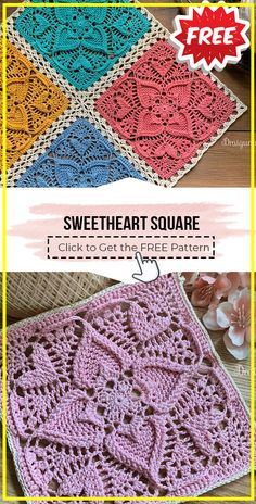 Knitted Squares Pattern, Granny Square Pattern Free, Crochet Bedspread Pattern, Knitting Squares, Crochet Baby Dress Pattern, Crochet Motif, Free Pattern, Crochet Cushions, Doilies Crochet