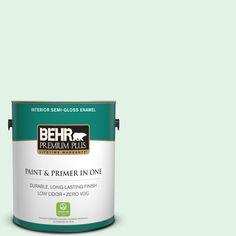 BEHR Premium Plus 1-gal. #480C-1 Light Mint Zero VOC Semi-Gloss Enamel Interior Paint