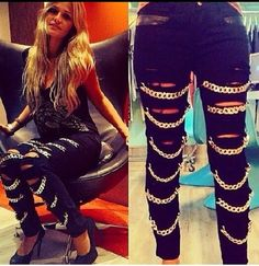 DIY pants: buy black ripped jeans and sew chains on them http://wheretoget.it/look/567349