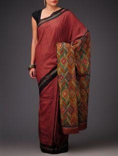 Red-Black Tussar Silk Kantha Embroidered Saree