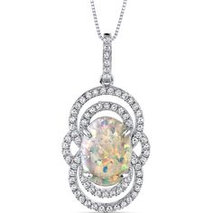 Women's Sterling Silver Vintage Opal Pendant with Brilliant Cubic Zirconia #Unbranded #Pendant