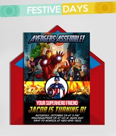 DIY Printable - The Avengers - Superheroes - 5x7 Birthday Invitation - We email and YOU PRINT - Receive in one business day