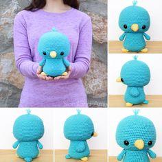 Amigurumi Plushies & Patterns by StorylandAmis on Etsy Crochet Bird Patterns, Crochet Birds, Crochet Crafts, Crochet Flowers, Crochet Hooks, Knitting Patterns, Free Knitting, Free Crochet, Sewing Basics