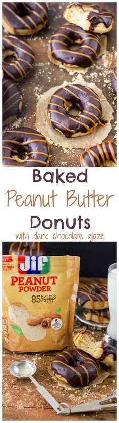 Baked Peanut Butter Donuts with Dark Chocolate Glaze : made with Jif Peanut Powder : SugarSpunRun Baked Donut Recipes, Baked Doughnuts, Donuts Donuts, Healthy Baked Donuts, Delicious Donuts, Delicious Desserts, Dessert Recipes, Pastry Recipes, Salad Recipes