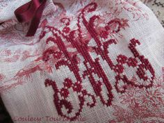 Cross stitch on toile linen