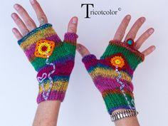 Mitaines femme en pure laine tricotées à la main