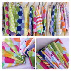Playful Cloth Napkins-Upcycled  Linens-Rainbow Bright via Etsy
