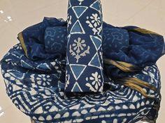 Cotton Dress Indian, Cotton Dresses, Colour Combination For Dress, Cobalt Blue, Teal, Churidar Neck Designs, Dabu Print, Batik Prints, Cotton Suit