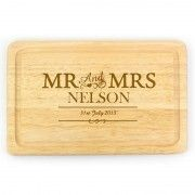Newlywed gift: This personalised 'Mr & Mrs' chopping board is the perfect newlywed treat to yourselves. Personalised with your name and wedding date, you can make sure your husband never forgets to cook a romantic anniversary meal! Bamboo Cutting Board, Chopping Boards, Personalised Gift Shop, Personalized Wedding, Wedding Anniversary Gifts, Wedding Gifts, Ruby Anniversary, Romantic Anniversary