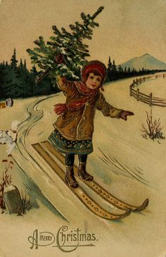 Skier with Christmas tree | by The Texas Collection, Baylor University