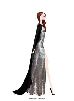 fabulous illustration by Adrian Valencia of Lana del Rey at the Met Gala 2012