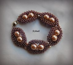 Beaded cuff bracelet seed bead pearl bracelet beadwork by Szikati, $65.00