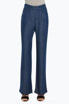 Foxcroft Solid Tencel® Wide Leg Trouser