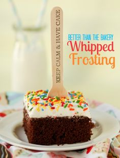 Better Than The Bakery Whipped Frosting-Finally, the perfect whipped frosting recipe! This Better Than the Bakery Whipped Frosting will leave you wondering why you've bought cakes at the grocery store for all these years! Sweet Recipes, Cake Recipes, Dessert Recipes, Icing Recipes, Food Cakes, Cupcake Cakes, Muffin Cupcake, Cake Icing, Just Desserts