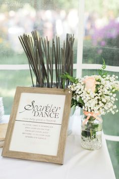 Sparkler dance, wedding stationery, baby's breath centrepieces, wedding flowers, mason jars, SOFT PEACH AND WHITE WATERFRONT WEDDING www.elegantwedding.ca