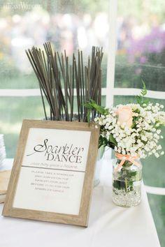 Sparkler dance, wedding stationery, baby's breath centrepieces, wedding flowers, mason jars, SOFT PEACH AND WHITE WATERFRONT WEDDING www.elegantwedding.ca