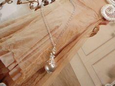 FRENCH LACE PENDANT Swarovski Crystal Pearl Necklace chain Filigree Drop Taupe Cream Beige Leaf Silver Vintage Antique wedding MaChericomau