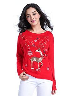 Women's Pullover Sweaters - Women Christmas sweater V28 Girls ladies Ugly Fun Shining Reindeer Knit Sweater *** Learn more by visiting the image link.