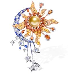 Sun and moon Insect Jewelry, Gems Jewelry, High Jewelry, Modern Jewelry, Jewelry Art, Jewellery, Saphir Rose, Pearl Brooch, 18k Gold