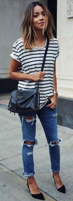 Stripes + distressed.