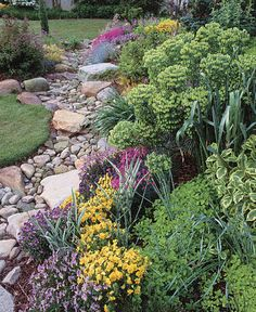 """Instead of a poured concrete swale, these homeowners opted for a dry streambed lined with water-worn stones and edged with eye-catching plantings."" 