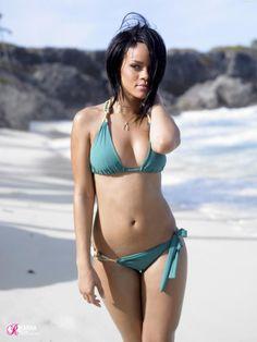 # Fit #Rhianna in a #Green #Bikini on the #Beach