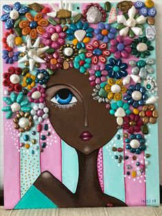 Stone art of Fussoli - Styles Crafts Stone Crafts, Rock Crafts, Arts And Crafts, Paper Crafts, Button Art, Button Crafts, Art Altéré, Art Pierre, African Art Paintings