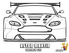 Aston Martin Vantage GT3 Front View Car Coloring Page You Can Print Out