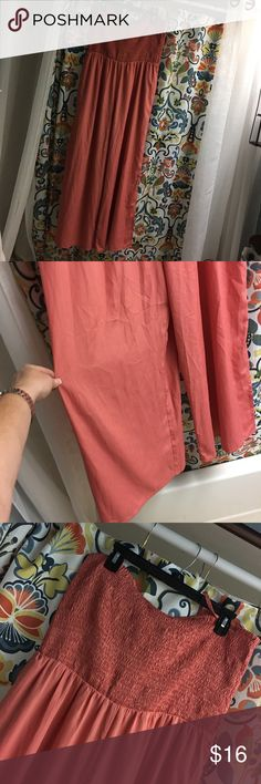 Love this jumper ! Salmon color Elastic top wide leg adjustable spaghetti straps use or tuck in sip cute not Sweeney rayon material, nwot never wore American Rag Pants Jumpsuits & Rompers