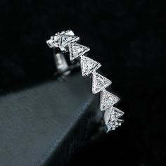 Diamond Triangle Design Stackable Ring