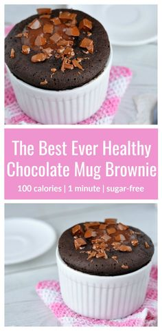 The Best Ever Healthy Mug Brownie Recipe | This healthy mug brownie is just 100 calories and is so easy to make! It's got a super-yummy fudgy texture and contains no eggs or sugar! Try it for dessert tonight. You'll love it!