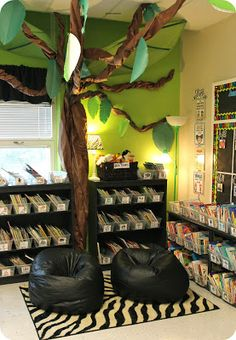 Eberhart's Explorers: I love this entire room, but by far my favourite part is this classroom library with the trees and bean chairs.