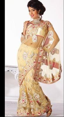 Gorgeous Beige Brown Embroidered Saree