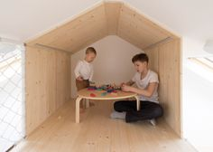 Russian architecture firm Ruetemple were responsible for the design of this multifunctional family room in Moscow. The room forms part of a summer house Architecture Russe, Cabinet D Architecture, Russian Architecture, Wood Bedroom, Kids Bedroom, Master Bedroom, Childrens Playhouse, Mini Loft, Built In Bed