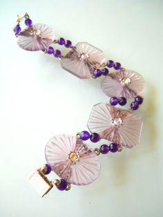 Camphor Glass Bracelet Vintage Amethyst Beads by RenaissanceFair, $80.00
