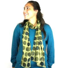 Olive Polka Dots Cotton Scarf Handmade for women