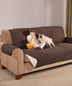 Loving this Chocolate & Taupe Reversible Furniture Protector on #zulily! #zulilyfinds only $25 for sofa size