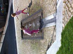 Water feature Korenmarkt, city center of Nijmegen, Netherlands. Look, hear, touch, play.