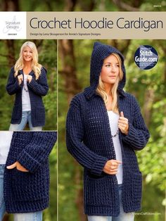 """This versatile cardigan combines comfort and style! Made using Plymouth Encore Worsted-weight yarn. Instructions included for finished measurements are: Bust: 38"""" S (40"""" M, 46"""" L, 50"""" XL, 54"""" 2X, 56 1/2"""" 3XL); Length: 28""""S (28 3/4"""" M, 29 1/2"""" L, 30 1/4"""" XL, 31"""" 2XL, 31"""" 3XL)."""