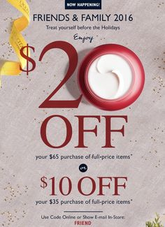 LOccitane Canada Friends & Family Sale: Save $10 Off $35 and $20 Off $65 Purchase With Promo Code http://www.lavahotdeals.com/ca/cheap/loccitane-canada-friends-family-sale-save-10-35/133896