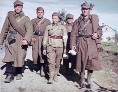 Polish army nurse with Polish POWs. -