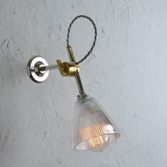 Industrial wall lights from Artifact Lighting. Vintage designs inc. Industrial Wall Lights, Vintage Industrial Lighting, Vintage Wall Lights, Lighting Uk, Interior Lighting, Wall Fixtures, Plates On Wall, Glass Shades, Bulb