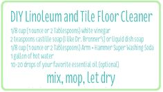 Spring clean your floors using this natural cleaner. Works great and smells good to boot! Via Clean Mama