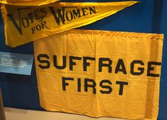 Suffrage pennant and banner used by Wisconsin or Milwaukee County Suffrage Association at the Republican National Convention, Chicago, Illinois, 1916 - Wisconsin Historical Museum