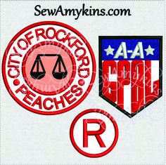 SewAmykins - Digital embroidery Files: A League of Their Own Applique designs AAGPBL - Rockford Peaches NOT a Patch, $8.00 (http://www.sewamykins.com/digital-embroidery-files-a-league-of-their-own-applique-designs-aagpbl-rockford-peaches-not-a-patch/)