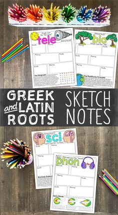 Greek and Latin sketch notes are the perfect way to build vocabulary! BONUS—your students will love them too!