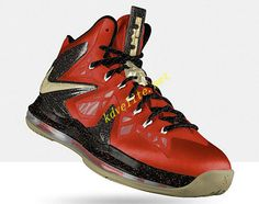 best authentic 59ec9 193d5 Credit guarantee that all pictures in - kind shooting, please rest assured  to buy Nike LeBron X PS Elite Bright Crimson Metallic Gold Black