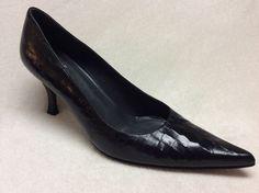 "Stuart Weitzman Size 10M Black Leather Point Toe Croco 3"" Heels | eBay"